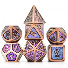 Copper Plated Ancient Photosensitive Powder Metal dice (Purple&blue&golden)