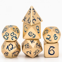 Light Gold Blue Dragon Font Metal Dice