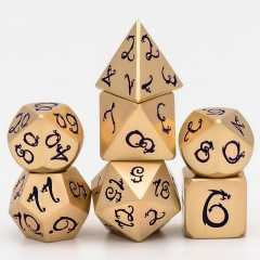 Light Gold Purple Dragon Font Metal Dice