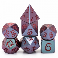Purple&Green Light Changer Dragon Font Metal Dice(Red Font)
