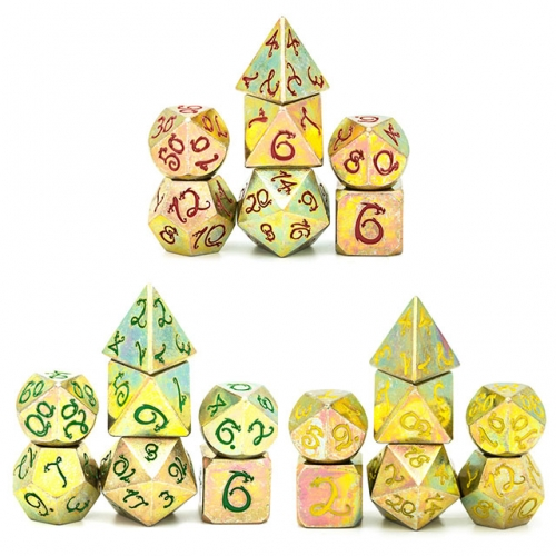 Stained Graffiti Dragon Font Metal Dice
