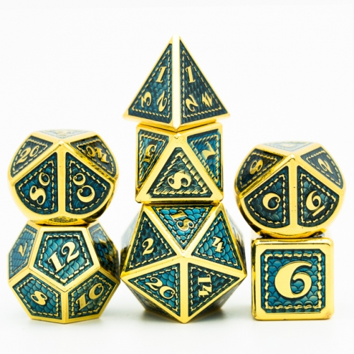 Mermaid Scale Golden Metal Dice