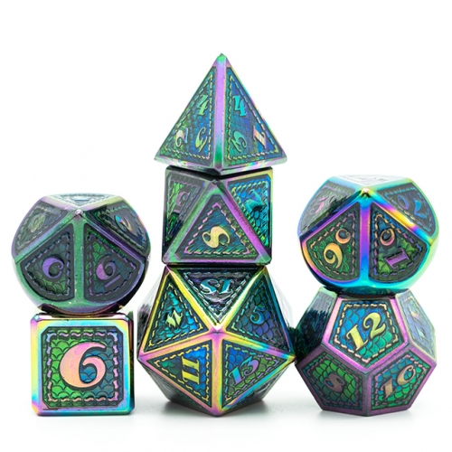 Mermaid Scale Rainbow Metal Dice