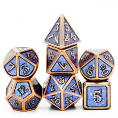Copper Plated Ancient Photosensitive Powder Metal dice (Blue&Green)
