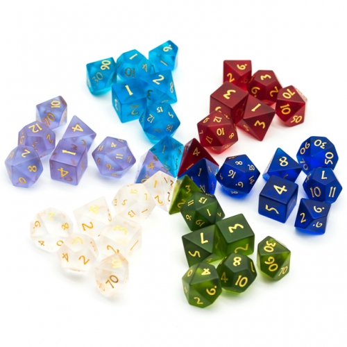 Frosted  Glass Gemstone Dice with Flannel Hexagon Box