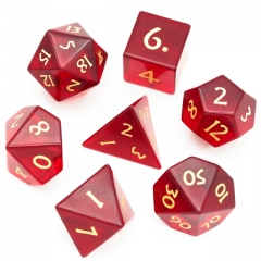 Red Glass Gemstone Dice with Flannel Hexagon Box