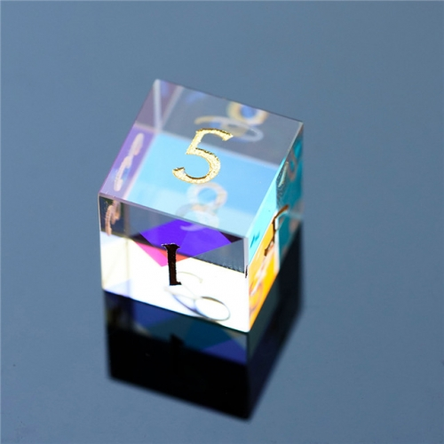 15 mm Rainbow Crystal D6 Dice Custom Made