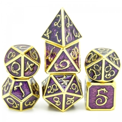 Clouds Dragon Golden with Purple Enamel Metal dice