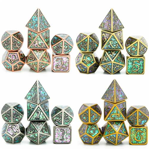 Plated Ancient Photosensitive Enamel Metal dice(Clouds Dragon )