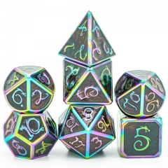 Raibow Grey Enamel Clouds Dragon Metal Dice