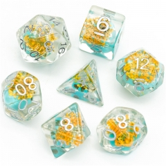 Yellow Flower with Blue Skull  Dice