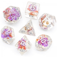Purple Flower with White Skull  Dice
