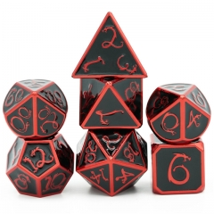 Electrophoretic red and black enamel Clouds Dragon Metal Dice